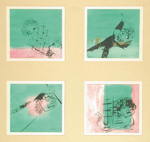 Arthur Boyd (Australian,1920-1999) Four Allegorical Studies each 19.5 x 20.5 cm.(framed as one)