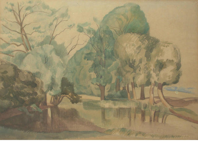 John Nash R.A.(1893-1977) Pond by Trees 39 x 55 cm.