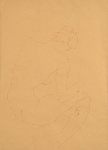 Ivon Hitchens (British, 1893-1979) Seated Female Nude 27 x 20 cm.