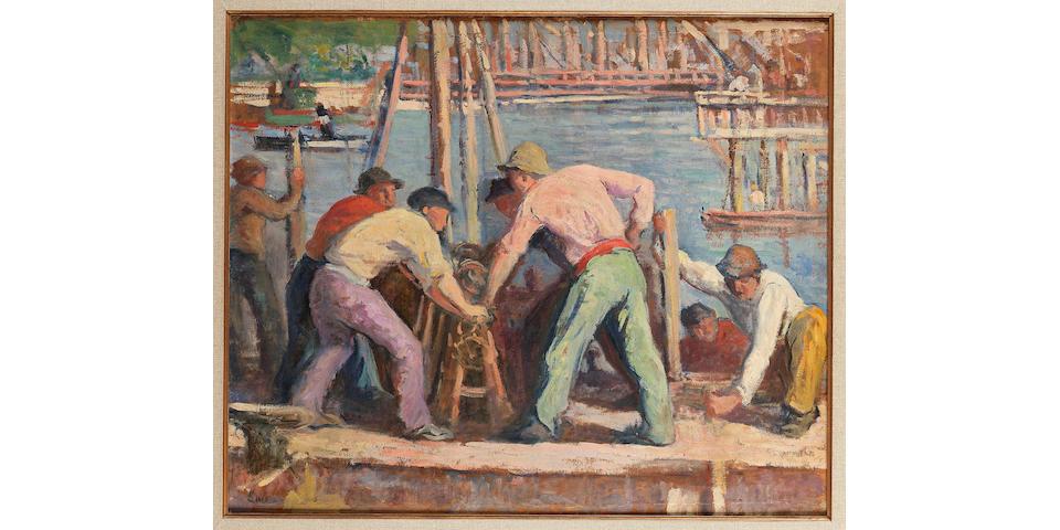 Maximilien Luce (French, 1858-1941) Paris, ouvriers et travailleurs sur les quais de la Seine