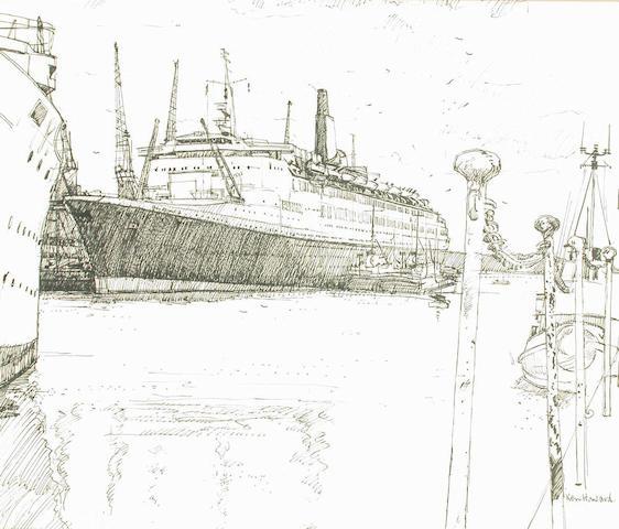 Ken Howard (British, b.1932) Q.E.2, Southampton 38 x 44 cm; all unframed (15)