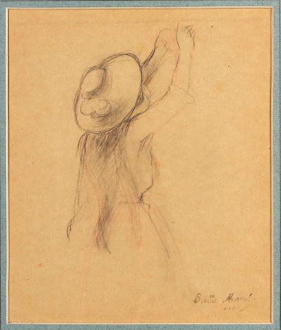 Berthe Morisot (French, 1841-1895) Jeannie tendant un panier - étude pour 'Le cerisier'