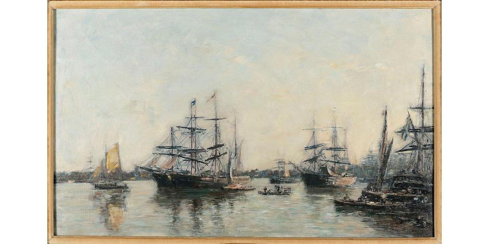 Eugène Boudin (French, 1824-1898) Bordeaux, Bateaux sur la Garonne