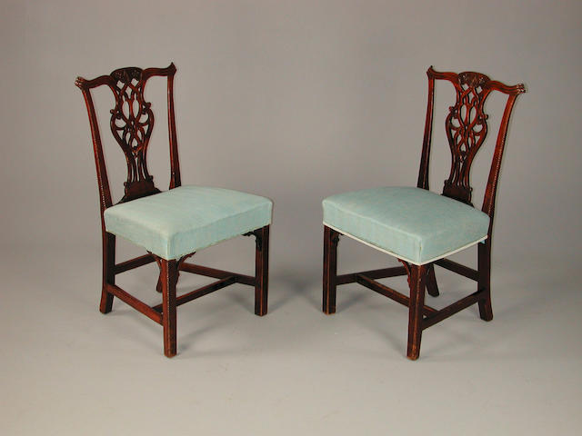 A set of four chippendale style 19th century mahogany dining chairs,  together with two modern dining chairs