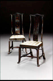 A pair of early 18th C. black and gilt j