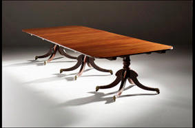 three pedestal dining table with middle