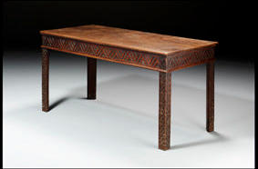 A 19th century mahogany serving table wi