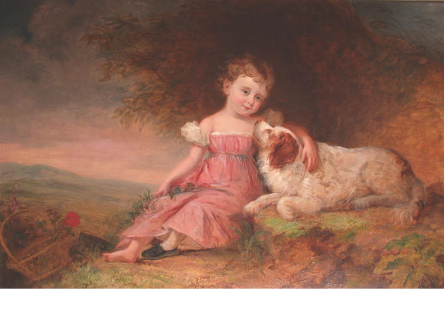 Attributed to Paul Gaugain Portrait of a young girl wearing a pink dress, seated with her dog in a country landscape,  83 x 128cm