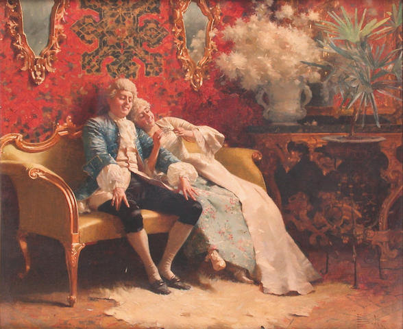 Paolo Bedini (Italian 1844-1924) A game of 'He Loves Me.' 27 x 32.5 cm.