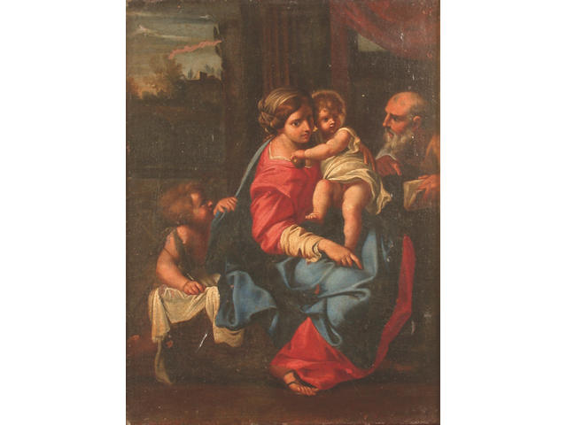 Manner of Bartolomeo Schedoni The Holy Family with the Infant St John the Baptist 37.5 x 28cm