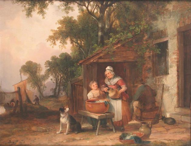 William Shayer, Snr. (British 1787-1879) Wash day 35 x 46 cm
