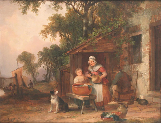William Shayer, Snr. (British 1787-1879) Wash day 35 x 46 cm