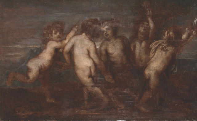 Antwerp School, 17th Century Putti disporting in a landscape 24.7 x 40 cm.  unframed