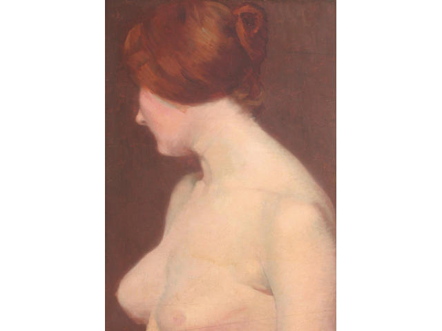 Albert Paul Louis Besnard (French, 1849-1934) A half-length female nude 54 x 36cm
