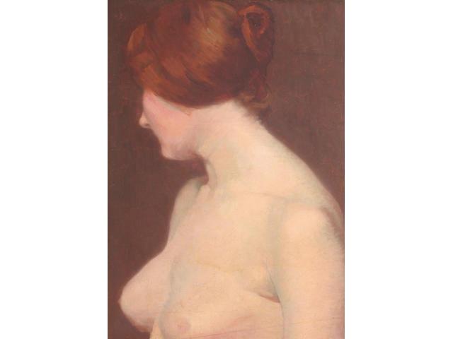 Albert Paul Louis Besnard (French, 1849-1934) A half-length female nude 54 x 36cm