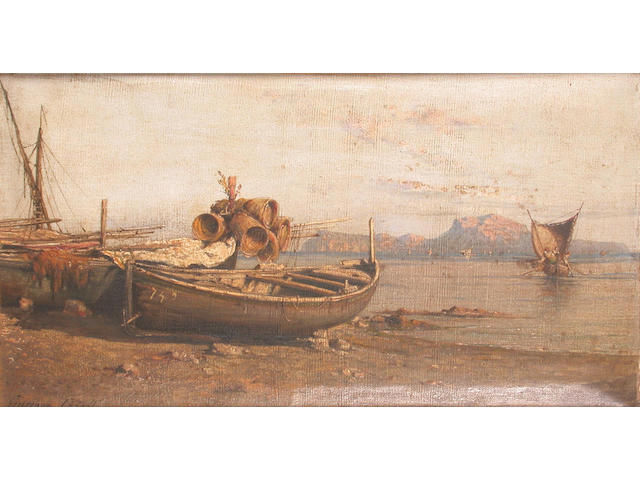 Giuseppe Carelli (Italian 1858-1921) Beached fishing boats in the bay of Naples 25.5 x 46.5 cm.