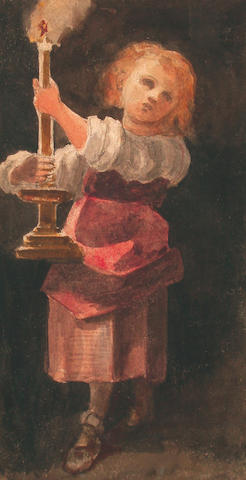 Louisa Marchioness of Waterford (British, 1818-1891) Page holding a candle; Gardener, 18 x 9.5 cm, (4).