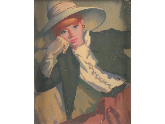 Robert Duckworth Greenham (British, 1906-1976) Portrait of a Woman 25.5 x 20 cm.