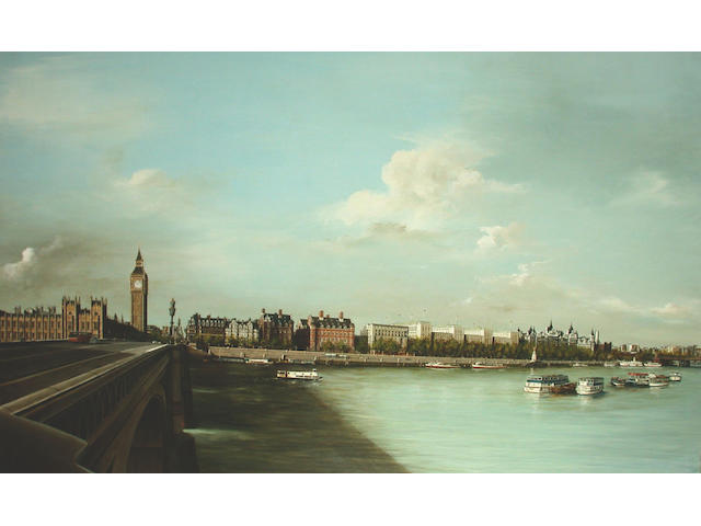 Thomas Easley (British, 20th Century) View of London from Westminister Bridge 78 x 126 cm.