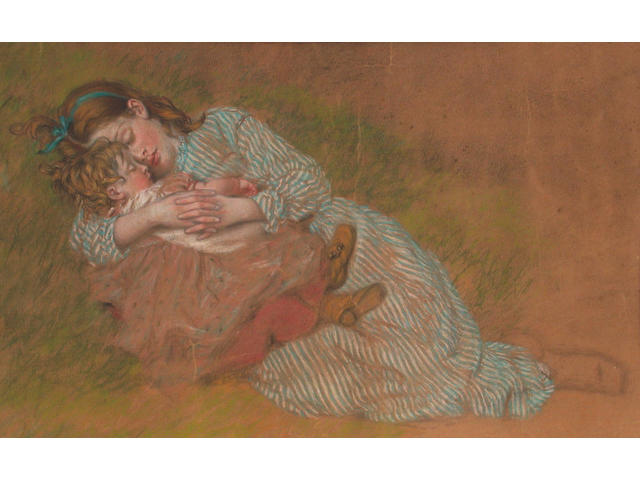 English School, 19th Century, Young girl asleep 29 x 45 cm.