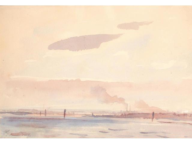 Edward Seago (British, 1910-1974) Breydon Water 18.5 x 27.5 cm.