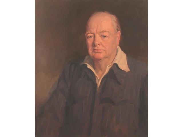 Amy Katherine Browning (1882-1978) after Oswald Birley Portrait of Winston Churchill 71 x 61 cm
