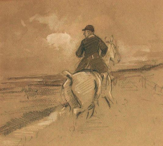 George Denholm Armour (British, 1864-1949) Study of a Huntsman 18 x 20 cm, (2).