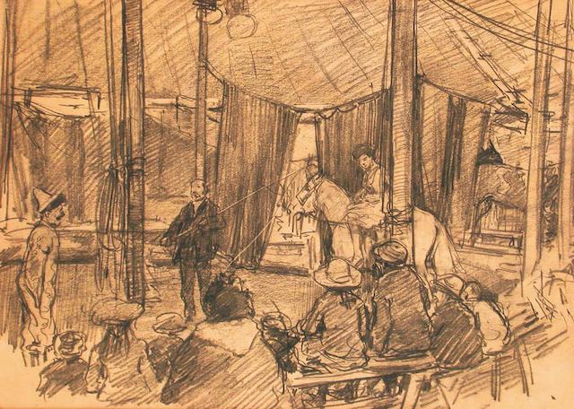 George Denholm Armour (British, 1864-1949) Circus scene 16.5 x 22.5 cm.