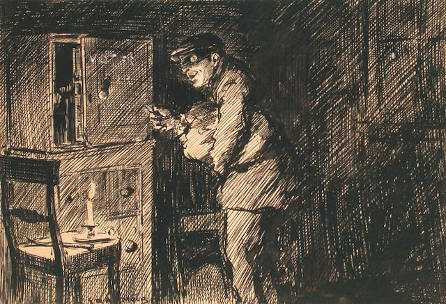 George Denholm Armour (British, 1864-1949) Cartoon of a burglar 15 x 22 cm.