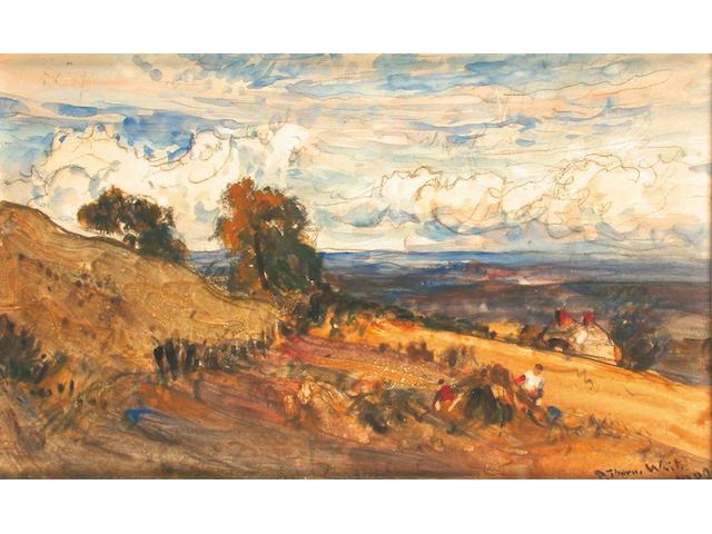 Robert Thorne Waite (British, 1842-1935) Haymaking 13 x 21.5 cm.
