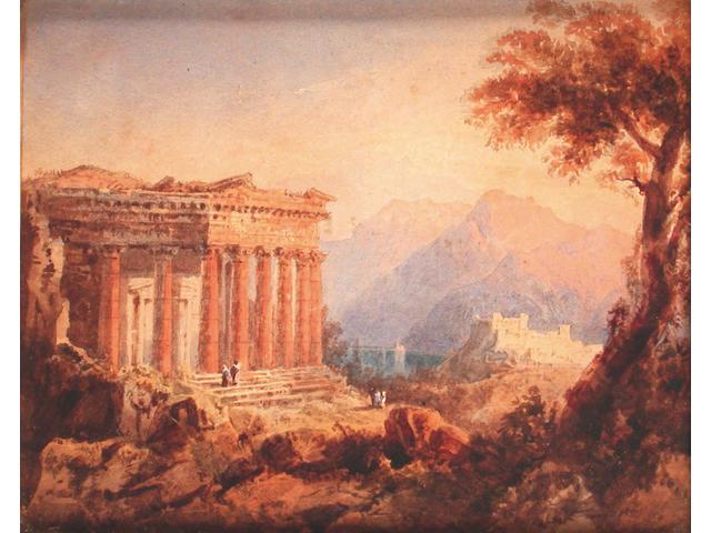 William Crouch (British, fl.1817-1850) Arcadian landscapes 12 x 15 cm, (2).