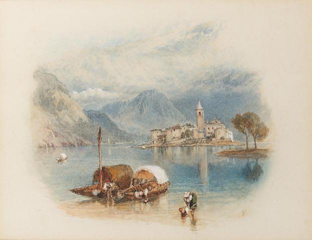 Myles Birket Foster R.W.S. (British, 1825-1899) Isola Pescatori, Lago Maggiore 14 x 17.8 cm. (5 1/2 x 7 in.) en vignette.