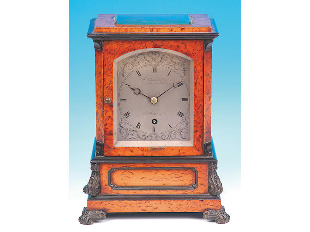 Frodsham & Son, Gracechurch Street, London; A good early Victorian pollard oak and ebony decorated Mantel Timepiece,
