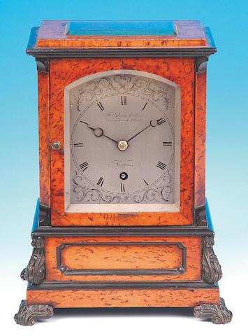 Frodsham & Son, Gracechurch Street, London; A good early Victorian pollard oak and ebony decorated Mantel Timepiece,