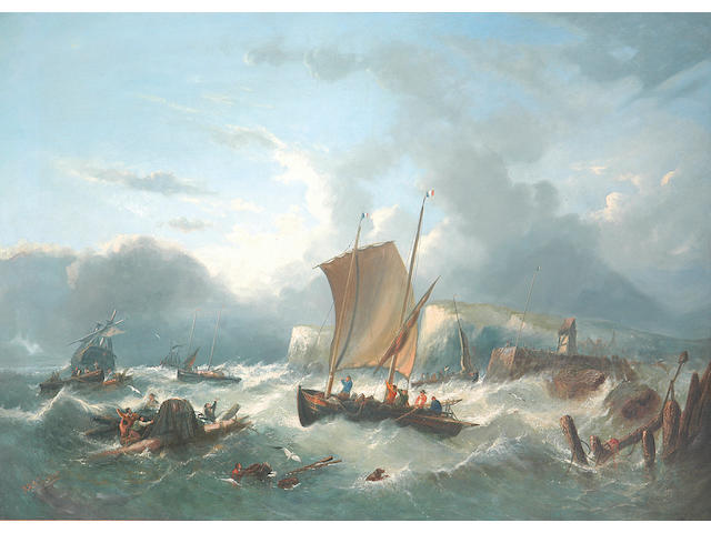 William Henry Williamson (1820-1883) Fishing Vessels and Salvagers off the French Coast 101.5 x 140cm. (40 x 55ins.)
