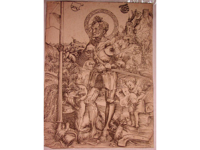 Lucas Cranach St. George standing with two angels (Bartsch 67)