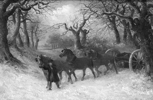 Thomas Smythe (1825-1906) Horses carting Timber through the Snow 31 x 45.5cm. (12 1/4 x 18in.)