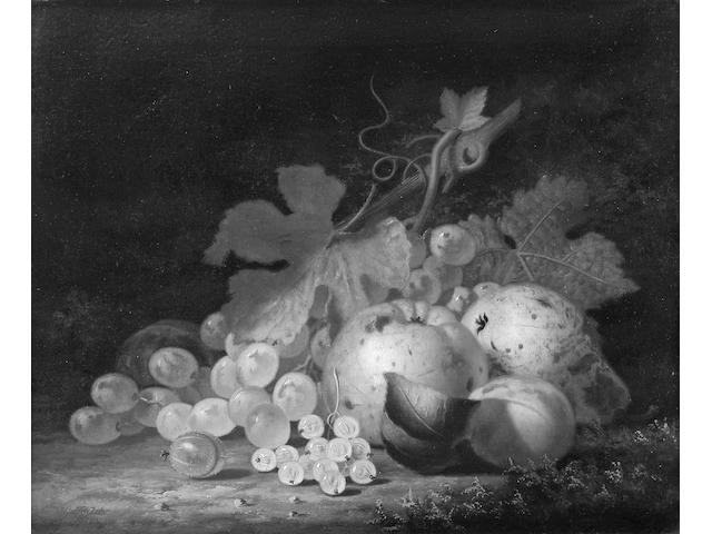 Henry George Todd (1847-1898) A Still Life of Fruit and Leaves in a Bowl on a marble Ledge 61 x 50cm. (24 x 19 3/4in.)