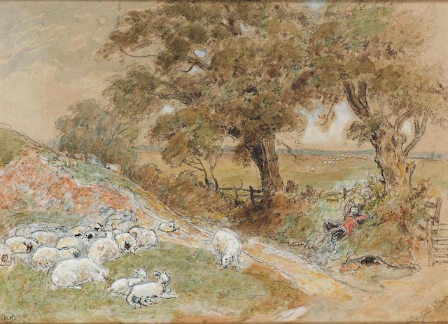 Myles Birket Foster R.W.S. (British, 1825-1899) The sleeping shepherd 15.8 x 21.6 cm. (6 1/4 x 8 1/2 in.)