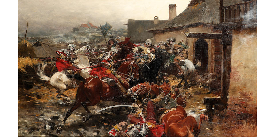 Josef von Brandt (Polish 1841-1928) A cavalry skirmish on the outskirts of a town 76 x 128 cm. (30 x 50 1/2 in.)