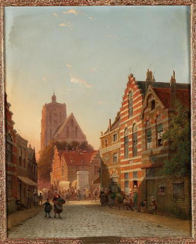 Pieter Cornelis Dommessen (Dutch 1834-1908) Figures in a street in Utrecht 49.5 x 39.5 cm. (19 1/2 x 15 1/2 in.)