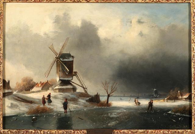 Circle of Charles Henri Joseph Leickert (Belgian 1818-1907) A winter skating scene 26.5 x 38 cm. (10 1/4 x 15 in.)