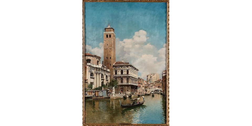 Federico del Campo (Peruvian 1837-1927) Gondolas on a Venetian canal 58.5 x 40 cm. (23 x 15 3/4 in.)