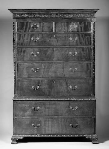 An 18th Century Dutch mahogany and floral marquetry Linen Press,