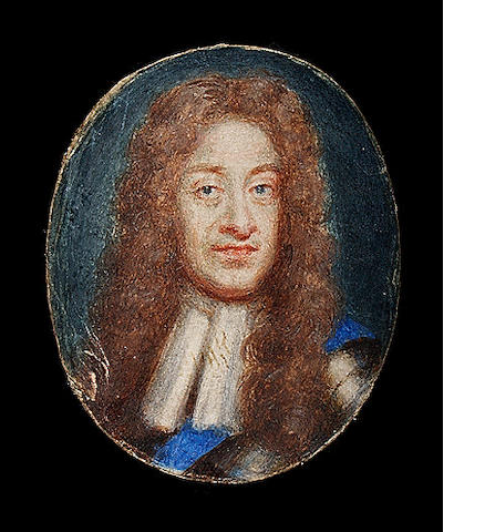 English School (late 17th century), probably after Sir Godfrey Kneller (1646-1723) : King James II of England, watercolour on vellum