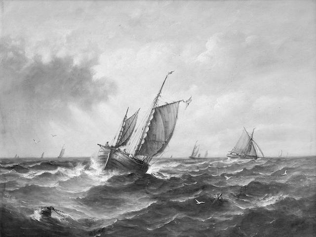 John Moore of Ipswich (1820-1902) Fishing Boats and other Vessels in a Choppy Sea 34 x 44cm. (13 1/4 x 17 1/4in.)