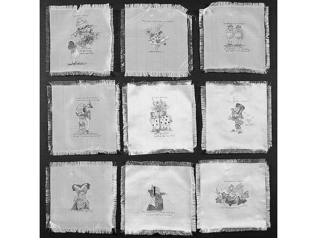 A collection of twenty four cream silk squares, each approximately 15 x 15cm.