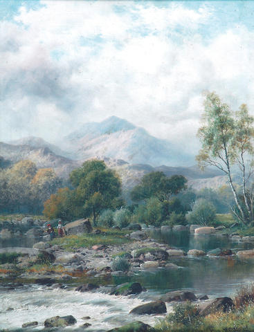 """William Henry Mander (exh.1882-1914) """"A Bit of the Llugwy, Moel Siabod"""" 46 x 36cm. (18 x 14in.)"""