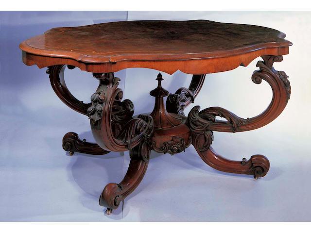 Victorian walnut & inlaid centre table