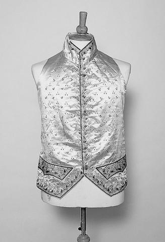 A late 18th Century gentleman's cream satin waistcoat,
